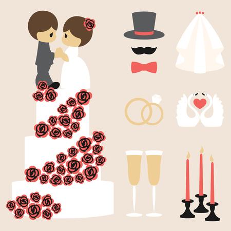 bougie coeur: Vector illustration of wedding color symbols set Illustration