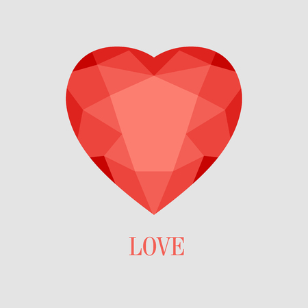 crystal heart: Vector illustration of red crystal heart