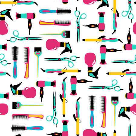 haircutting: Vector seamless pattern of hairdressing color equipment Illustration