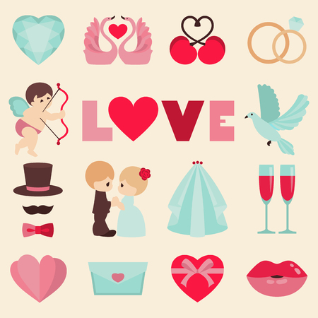 Vector set of happy wedding and Valentine days