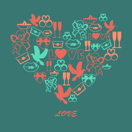 amur: Illustration of color symbols of Valentines day.