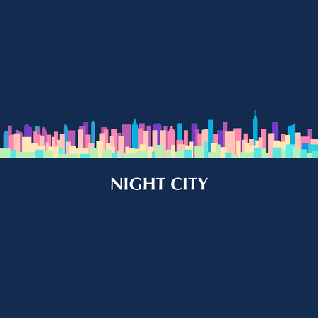 Colorful illustration of city skyline panorama at night.