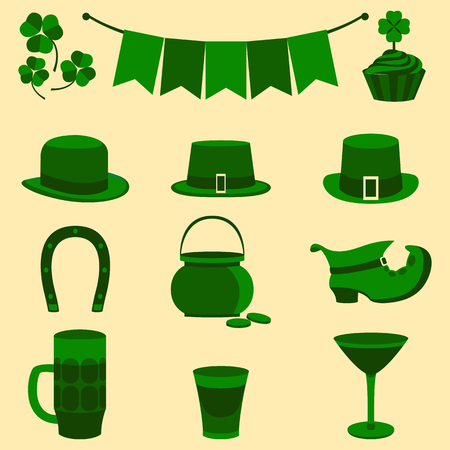 st  patty's: Modern flat color design icon on Saint Patricks Day