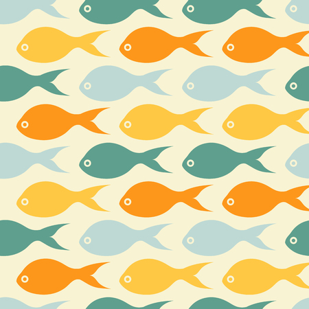 Vector seamless pattern with color fishes. Illustration