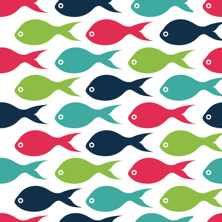 Vector seamless pattern texture with color fishes
