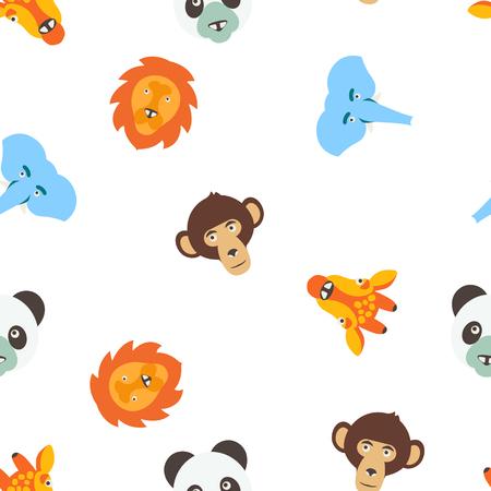 Vector Patrón Transparente De Animales De Color Para Niños ...