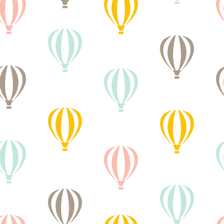 Retro seamless travel pattern of color balloons Vectores