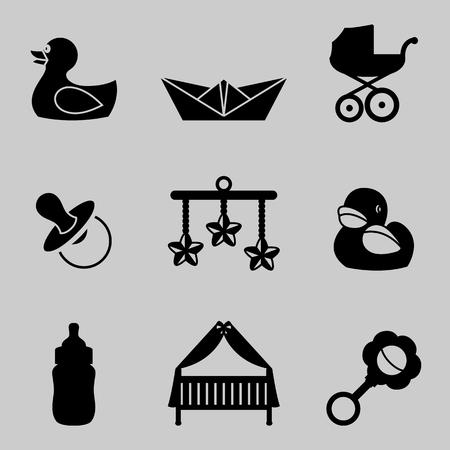 Ilustracji wektorowych dla dzieci i dzieci zestaw ikon koloru