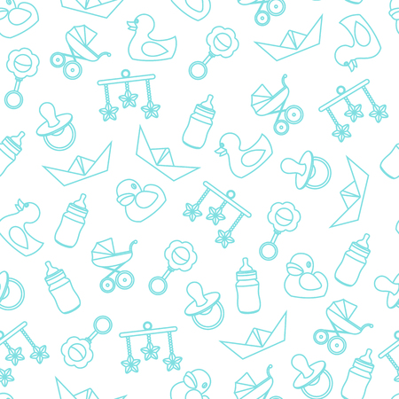 Vector seamless pattern of baby color icons and symbols