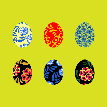Colorful Happy Easter greeting illustration with eggs