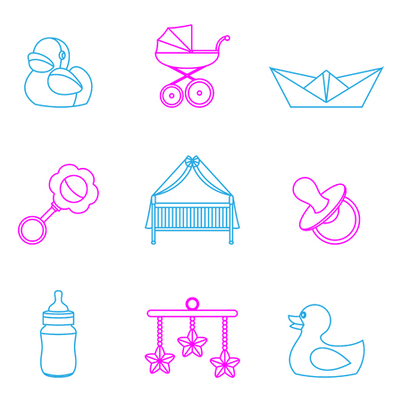 A minimal Vector illustration of baby and kids color set icons