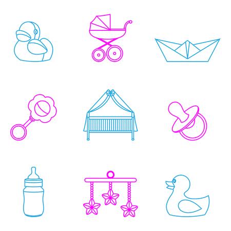 Minimalne ilustracji wektorowych dzieci i dzieci zestaw ikon koloru