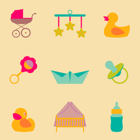 Set collection icons of color object for kids