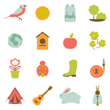 Vector set collection icons of color springs symbols Illustration