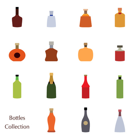 Vector silhouette of color bottle collection set icons