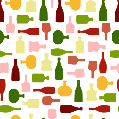 gin: Vector seamless pattern with color silhouette wine bottles. Illustration