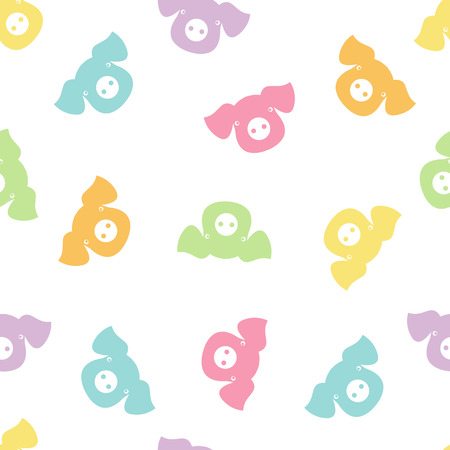 A Vector seamless pattern with different color pigs Illustration