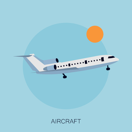 Vector illustration of color airplane in the sky