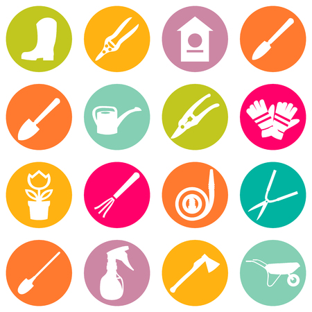 Vector icons of various gardening items and garden tools in flat design.