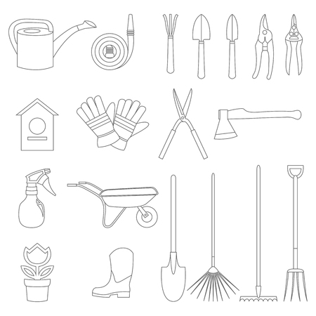 weeds: Vector icons of various gardening items and garden tools in flat design