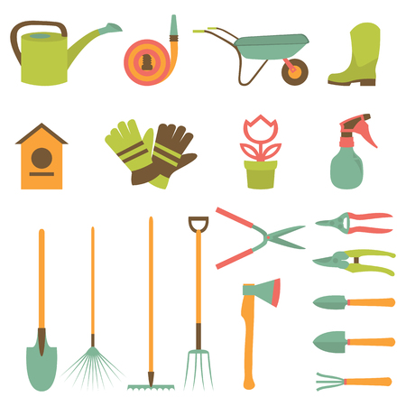 Vector set of various gardening items and garden tools in flat design