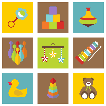 first form: Vector illustration of color toys for kids