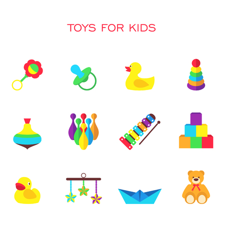 pull along: Vector illustration of color toys for kids
