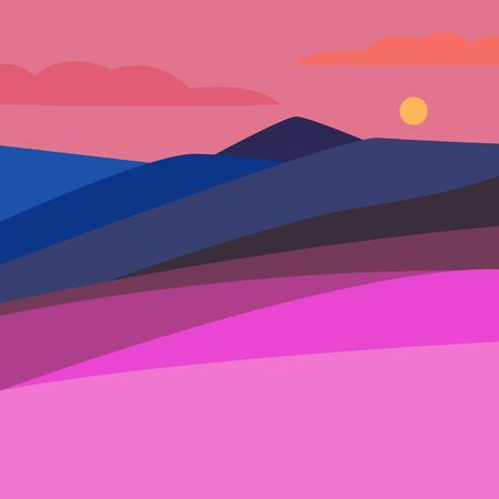 mountaineering: Vector illustration of landscape with mountain peaks Illustration
