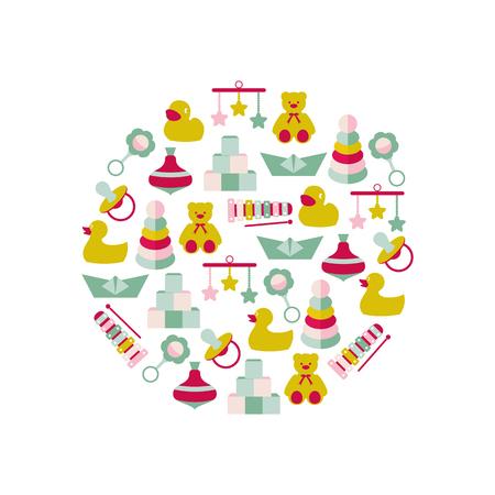 Vector illustration of color toys for kids