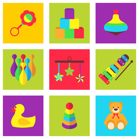 pull along: Vector illustration set of color toys for kids