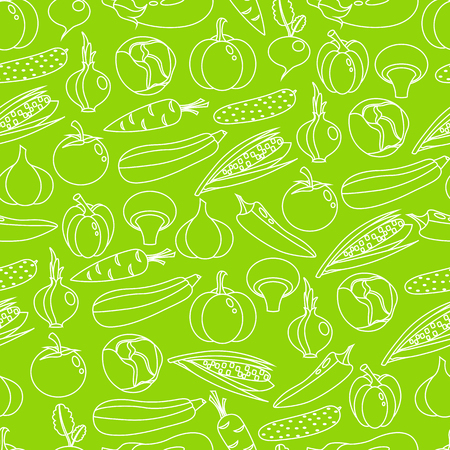 Vector background seamless pattern of colorful vegetables Illustration
