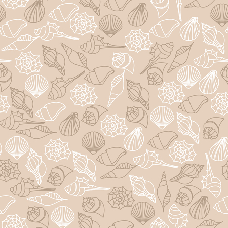 A vector brown line seamless pattern texture of seashells.