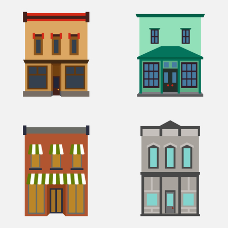 office building: Store shop front window buildings color icon set