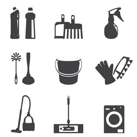 Vector illustration of cleaning icons line black set Illustration