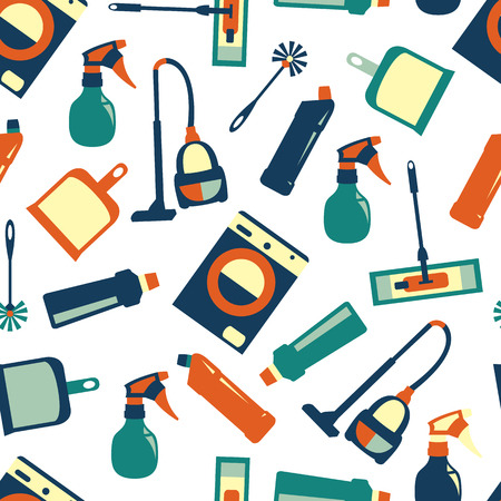 Vector background color seamless pattern of cleaning service Illustration