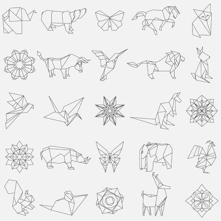Big vector set of animal origami figures