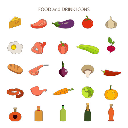 Food and drink flat vector icons set