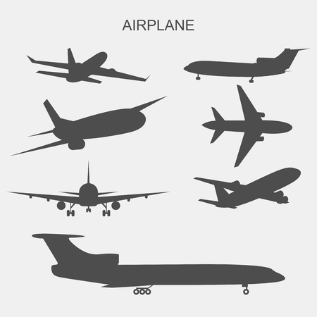 Illustration of airplane on flat style design.