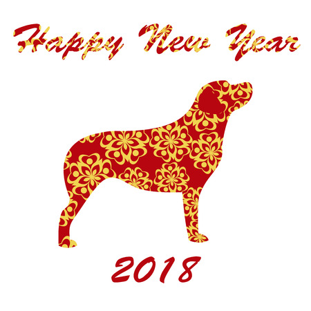 Vector illustration of Chinese New Year 2018 of Dog