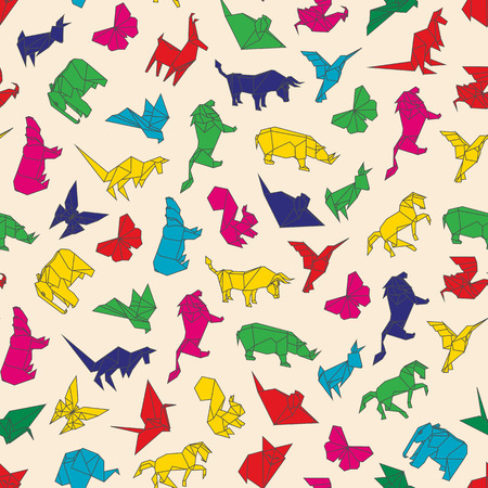 Vector illustration of color seamless pattern of origami animals