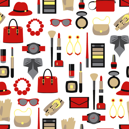 Vector color seamless pattern of women accessories and cosmetics