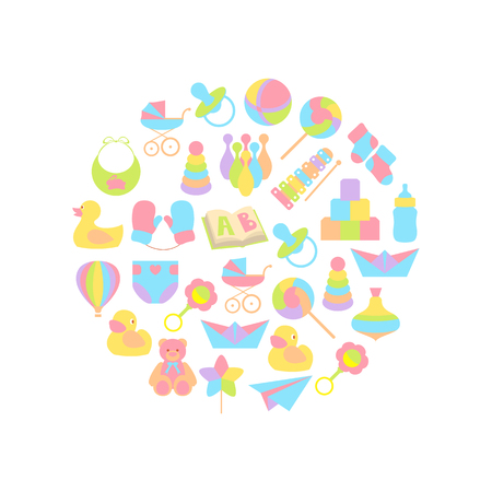 Vector illustration of baby icons set