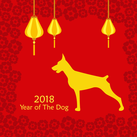 Vector illustration of Chinese Happy New Year 2018 of Dog