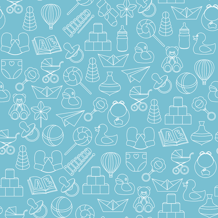 Baby toys vector seamless pattern on blue background