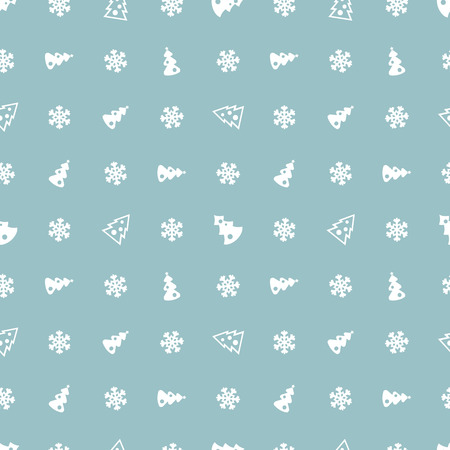 Christmas trees and snowflakes blue pattern. Ilustrace