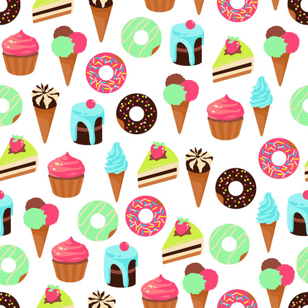 Vector seamless pattern of color sweets dessert on white background