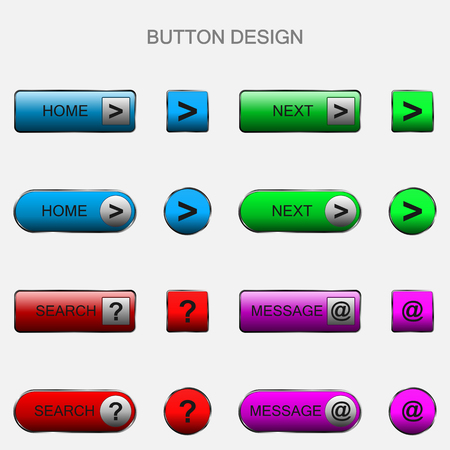 Vector illustration of web elements button set