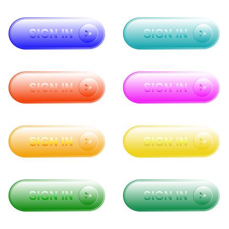 Vector illustration of web elements button color set