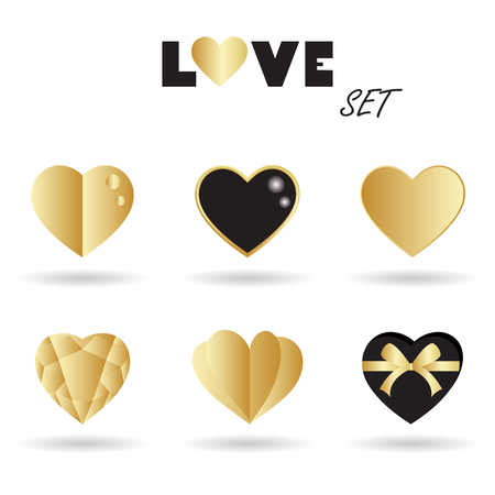 A Vector set of gold hearts design and love elements