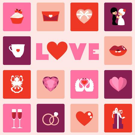 Liefde symbool vector iconen van voor Valentijnsdag geïsoleerd op een witte achtergrond. Stockfoto - 94378312